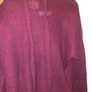 burgundy hand knitted hoodie!